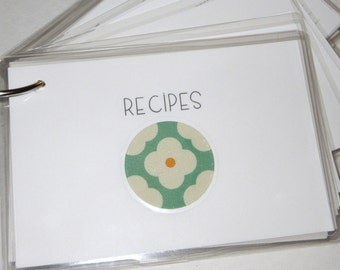 SALE PRICED....Recipe Cards on a Ring with Super Fun Designs 4 by 6 size