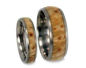 Wooden Wedding Bands Set, Titanium Rings Made With Black Ash Burl, Matching Ring Set
