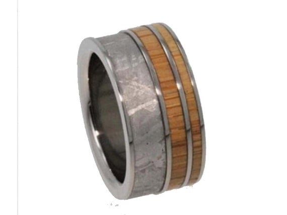 Interchangeable Wood Ring, Meteorite Wedding Band With Bamboo, Adjustable Titanium Wedding Band