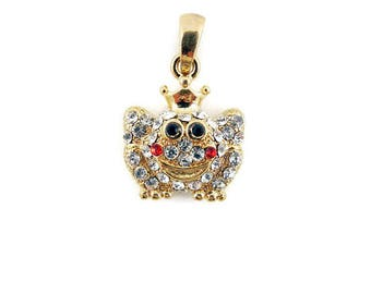 Small Gold-tone Frog Pendant Rhinestone Encrusted Charm Pendant
