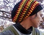 DREAD HAT Natural Handmade Crochet Hat Rasta Hat WOOL Hat Slouch Hat Dreadlock Tam Dreads *Rasta Stripe*