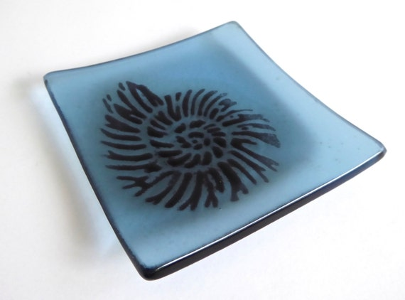 Blue Glass Ring Dish with Nautilus Shell
