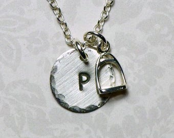 Stirrup Hand Stamped Sterling Silver Petie Initial Charm Necklace - Equestrian Necklace - Horse Lover Gifts