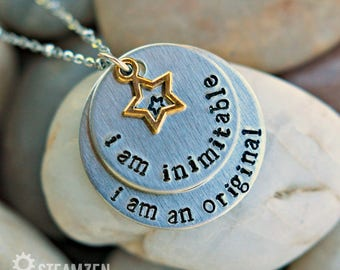 "Hamilton ""I'm Inimitable I'm an Original"" Hand stamped Personalized Necklace - Hamilfan Gift - Actor Gift - Theater Gift - Unisex"