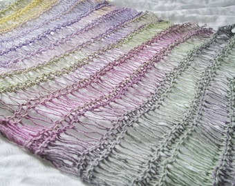 Lilac, Green, Pink & Yellow Pastel Hand Knitted Wool Mix Drop Stitch Wraparound Shawl
