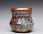 handmade porcelain cup, ceramic tea cup, yunomi with carbon trap shino and white shino glazes