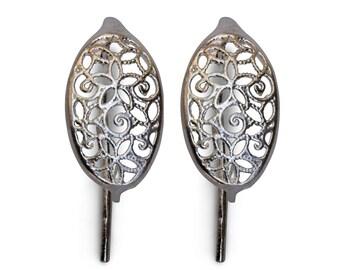 Filigree French Hook Earrings 43551 (1 pair), Filigree Sterling Silver Earrings, Sterling Silver Earwires, Fish Hook Earrings,