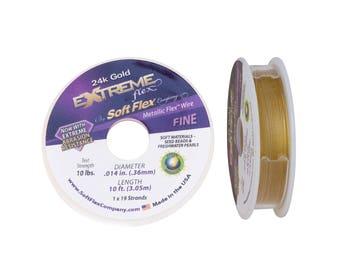 24k Gold Extreme Flex by Soft Flex Beading Wire .014 inch 10 foot Mini Spool Metallic Gold Wire  Gold Extreme SoftFlex Wire, Flexible Wire