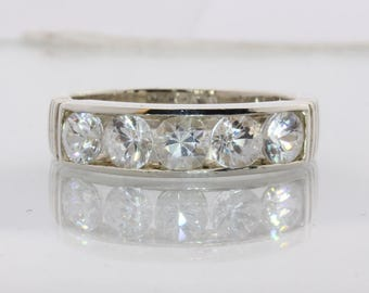Sparkling White Zircon Handcrafted 925 Silver Unisex Channel Set Ring size 11.5