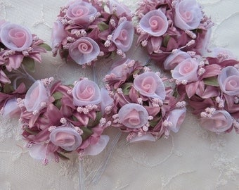 36 pc Rosette Rose Wired Flowers MAUVE Organza Satin Ribbon w Pips Bridal Bouquet Hair Bow Accessory