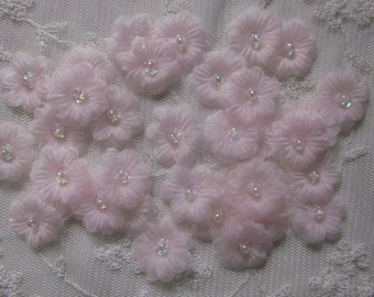 36pc Organza Sequin Beaded LT PINK Fabric Flower Handmade Applique Baby Doll Dress