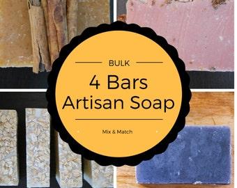 Bulk Discount 4 Soaps for 20-handmade soap/ulster soaps/organic soap/natural soap/vegan soap/bar soap/face soap/artisan soap/homemade soap