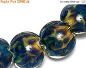 ON SALE 50% OFF Seven Blue & Orange Lentil Beads -10407502 Handmade Lampwork Glass