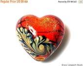ON SALE 40% OFF New! Handmade Glass Lampwork Bead - 11836505 Bonfire Shimmer Heart