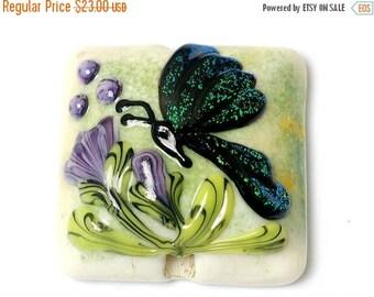 ON SALE 40% OFF Handmade Glass Lampwork Bead - Green Sparkle Garden Butterfly Pillow Focal Bead 11834904