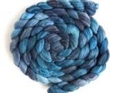 Merino/ Superwash Merino/ Silk Roving (Top) - Handpainted Spinning or Felting Fiber, Darkness