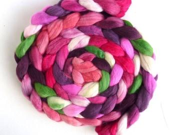 Polwarth/Silk Roving - Handpainted Spinning or Felting Fiber, William's Bouquet