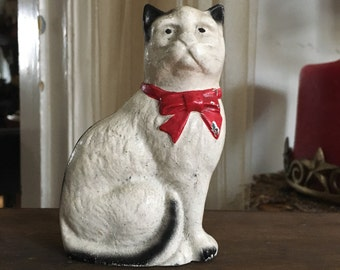 Hubley Coin Bank Cast Iron Kitty Cat Red Bow