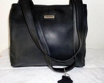 Giani Bernini soft thick genuine leather hobo satchel purse handbag, dual straps top zipper in black cool