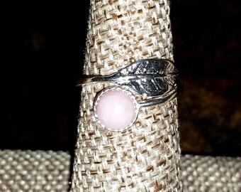 Opal Sterling Silver Leaf Wrap Ring