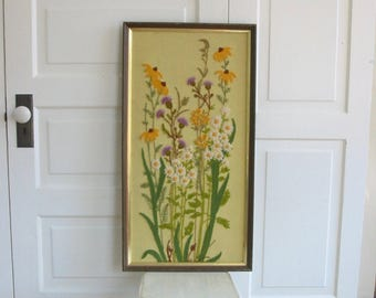 Vintage Embroidered Flowers, Vintage Crewelwork, Vintage Needlepoint, Floral Embroidery, Wildflowers Embroidery