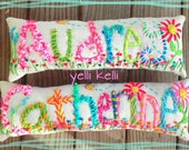 Decorative Pillow SIX Letters Hand Embroidered Name Made to Order YelliKelli