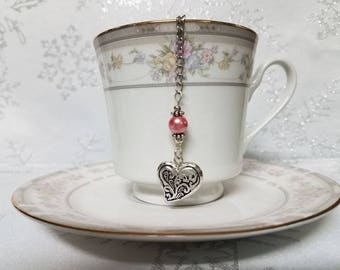 Pink beaded HEART tea ball infuser