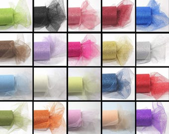 6 inch x 30 ft GLITTER Tulle-ivory or your choice of colors