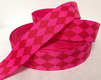 Harlequin Pattern Grosgrain  1.5 inch x 5 yards ...On Sale Now..33% Off