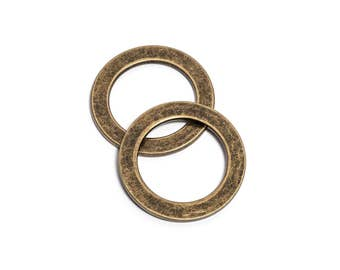 "30pcs - 1 1/4"" (32mm) Flat Zinc O-Ring - Antique Brass - (FOR-114) - Free Shipping"