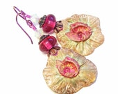 Gold & Pink Flowers Earrings, Handcrafted Polymer Clay, OOAK (One of a Kind) Organic Floral Jewellery, Wearable Art