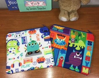 Set of 2 Boys Monsters Reusable Insulated Snack Bag, Zipper Pouch, Zipper Reusable Snack Pouch, Kids Snack Bag