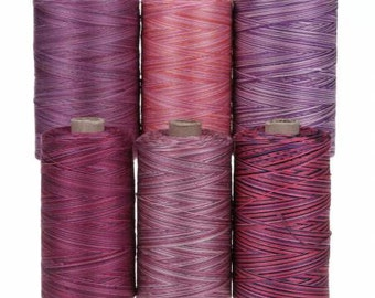 Valdani 50wt Six Spools Pink & Purples Collection - 100% Cotton