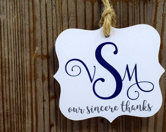 Custom Monogram Wedding Tags with Jute Twine, mad4plaid