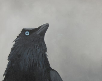Raven Painting - Black Bird Oil Painting Wall Art - Made to Order