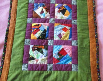 Doll Quilt for 18 inch dolls, Crazy Quilt Patchwork 15 x 19-1/2 inches