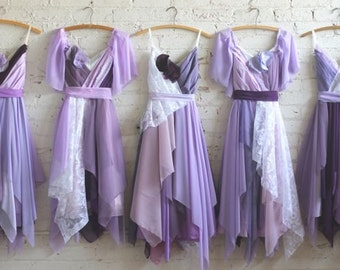 Custom Handkerchief Hem Bridesmaids Dresses