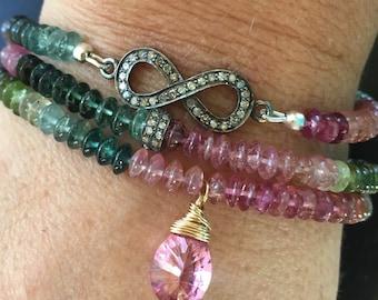 Multi Tourmaline Bracelet Boho Chic Stack Gemstone Bracelet