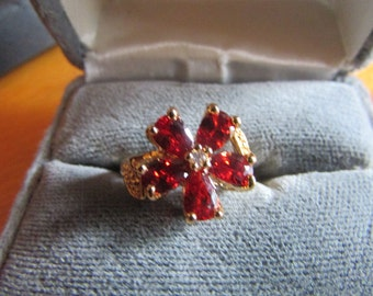 Orange cz ring flower