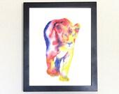 Lioness Galaxy Spirit Totem Animal Art Print Watercolor 8x10