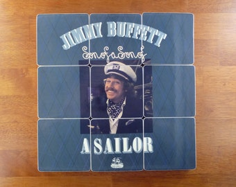 Jimmy Buffett recycled Son of a Son of a Sailor album cover coasters and wacky vinyl record bowl