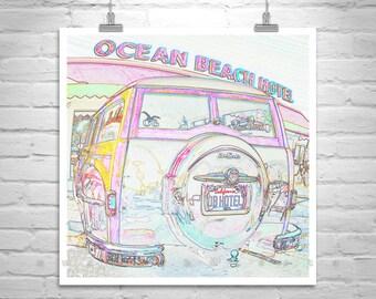 San Diego Art, Ocean Beach, California, Square Print, Surf Woodie, Square Print, Automobile Art, DeSoto, Car Art, Automotive Art, Surf Woody