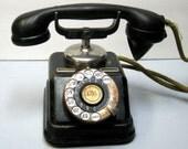 SALE Antique Swedish D30 Auto Version Ktas Rotary Telephone with Adaptor 1930's