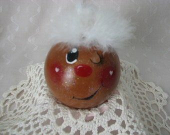 Glass Ball Gingerbread Ornament Hand Painted