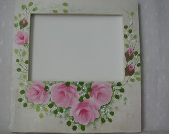 Wood Picture Photo Frame Hand Painted Pink Roses Cottage chic home wall decor