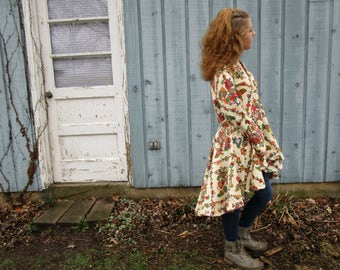 Folkloric Floral Swing Cotton Duster Coat// Peplum// High Low// Cream Multi Colored// Large// emmevielle