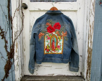 XL Virgen de Guadalupe Distressed Denim Jean Jacket// Virgin Mary// Religious Icon// Blue Pink Red// emmevielle
