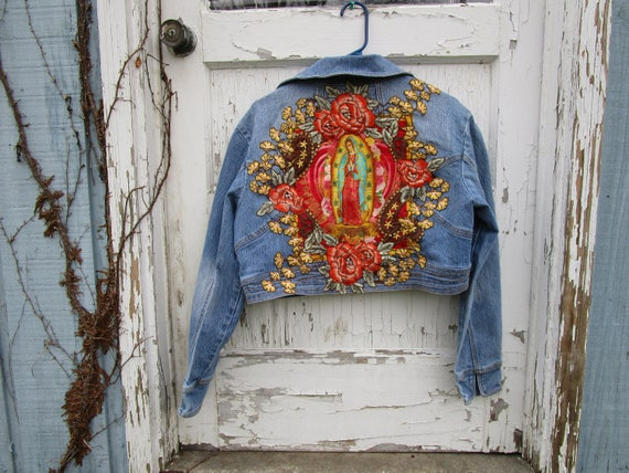 L-XL Virgen de Guadalupe Distressed Cropped Denim Jean Jacket// Virgin Mary// Religious Icon// emmevielle