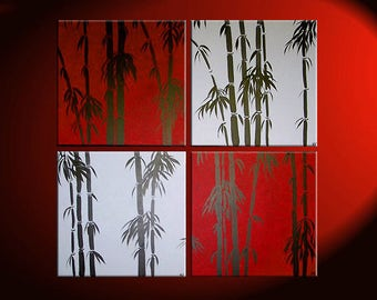 Huge Bamboo Painting Asian Zen Art Pick your Color and Size Zen Wall Art Home Decor Unique Personalized Four Canvases 48x48