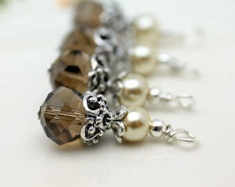 Vintge Style Brown Rondelle Crystal with White Pearl and Ornate Silver Bead Dangle Charm Drop Set - Earring Dangle, Charm, Drop, Pendant
